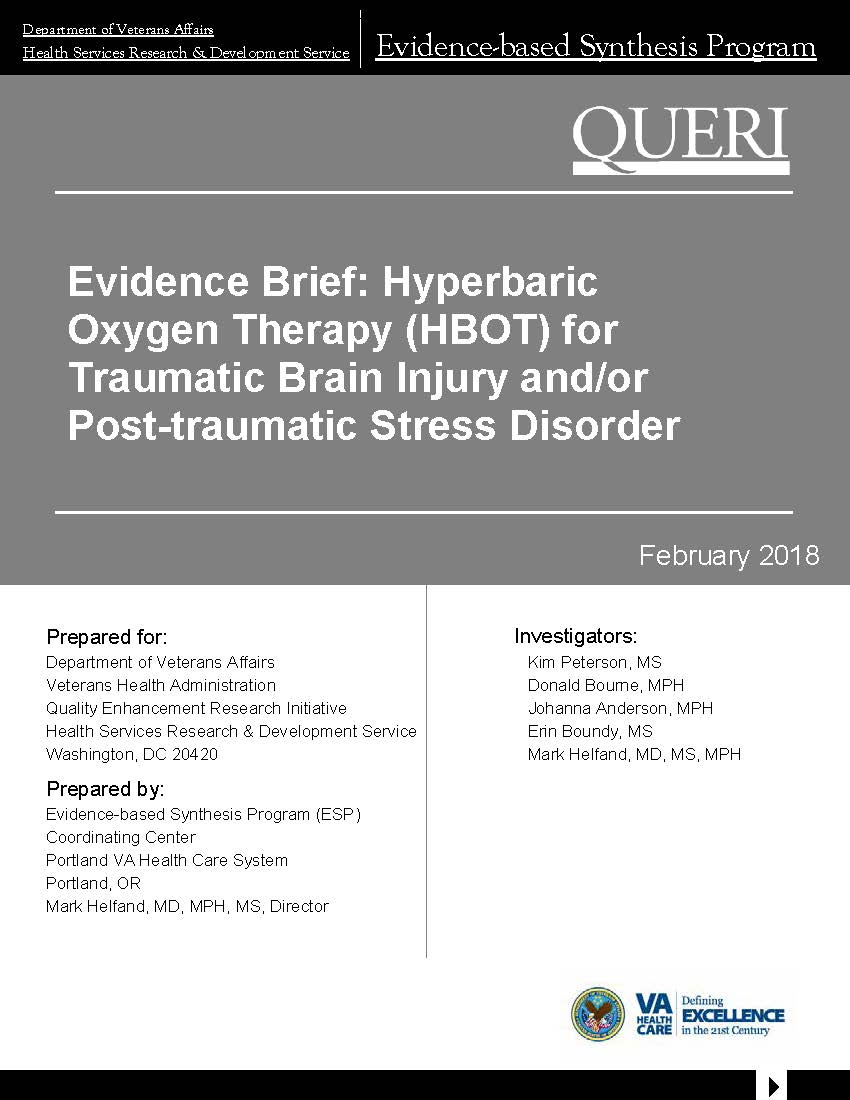 Hyperbaric Oxygen Therapy (HBOT) for Traumatic Brain Injury and/or Post-traumatic Stress Disorder