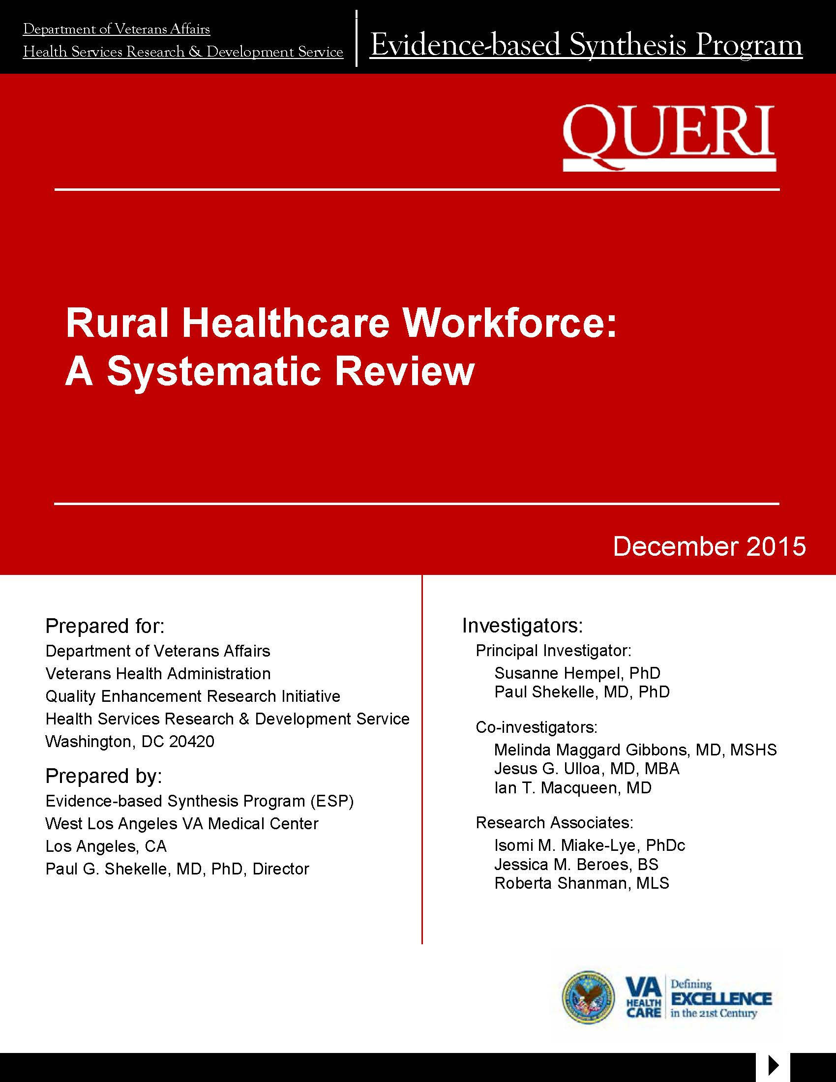 Rural Healthcare Workforce: A Systematic Review