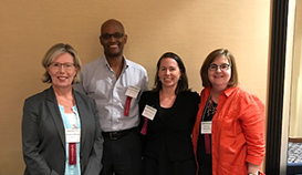 from left to right: Denise Hynes, PhD, MPH;  C. Leo Greenstone, MD; Megan Vanneman, PhD, MPH, Michelle Mengeling, PhD