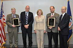 Dr. John Shelburne, Dr. Eugene Oddone, Medical Center Director DeAnne Seekins, Dr. Hayden Bosworth, and Dr. David Atkins