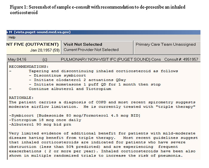 Screenshot of sample e-consult with recommendation to de-presribe an inhaled corticosteroid